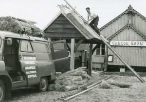 Cyril Rackham and Son thatching Walberswick Bus Shelter around 1961